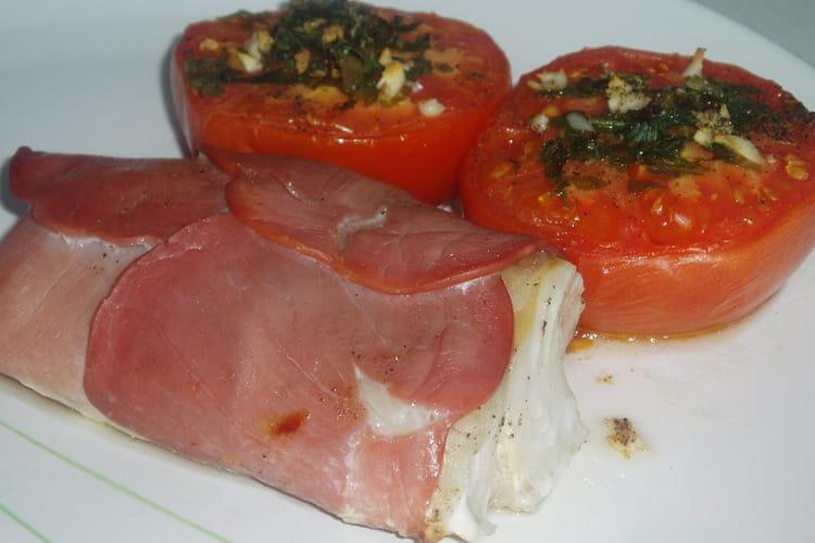 Filet de cabillaud au bacon et tomates provençales
