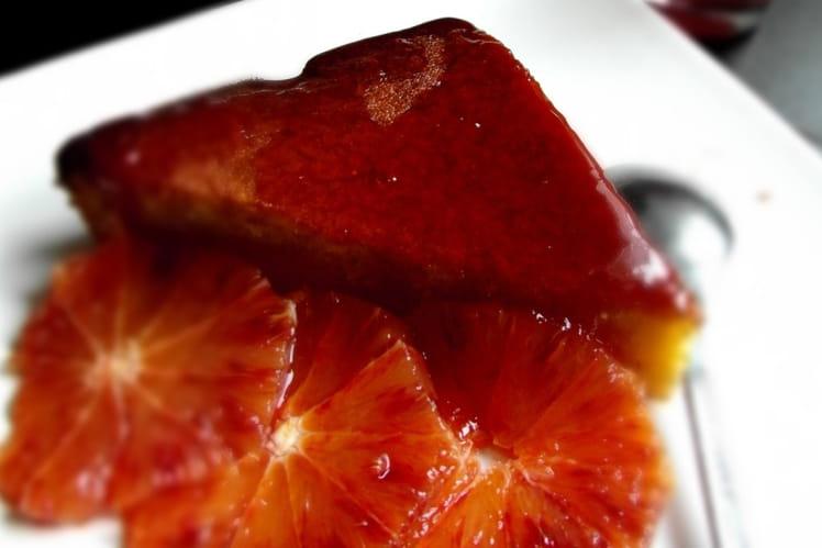 Gâteau à l'orange sanguine et polenta (sans gluten et sans lactose)