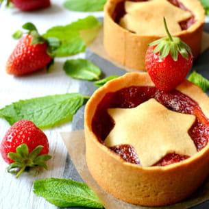 tartelettes fraises, menthe et vanille
