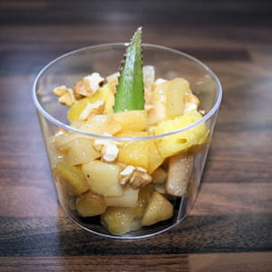 salade de fruits caramélisés et chamallow