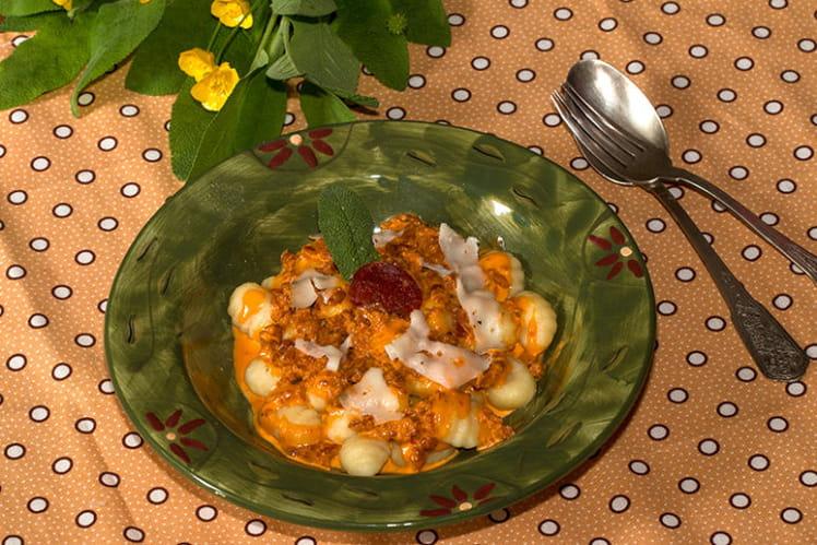 Gnocchis, sauce crémée au chorizo