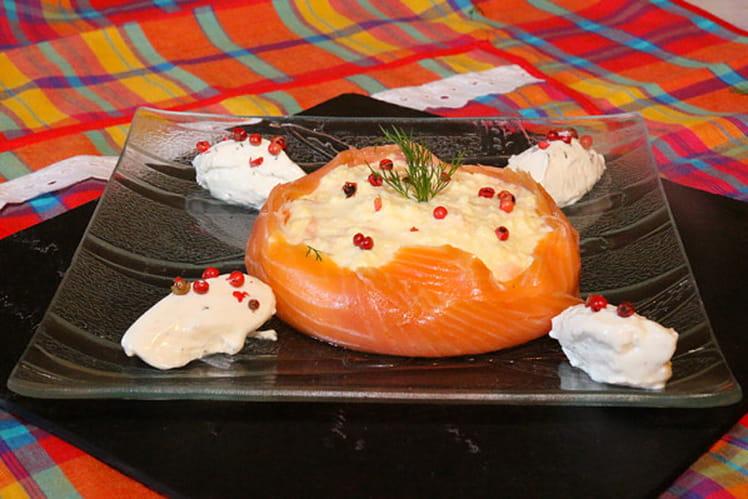 Brouillade de saumon en turban