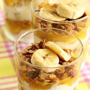 dessert muesli, yaourt coco et banane