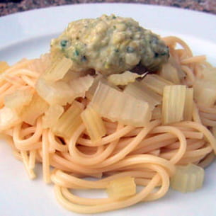 spaghettis au pesto et au céleri