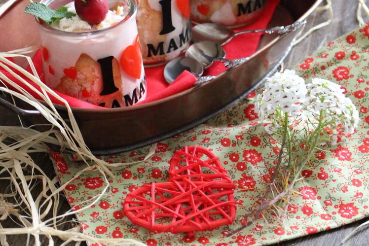 Bavarois fraises - coquelicots version mini