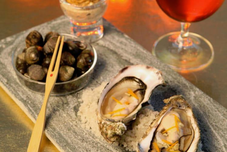 Huîtres en écume de bière, gingembre et zestes d'orange, bigorneaux à la mayonnaise de badiane