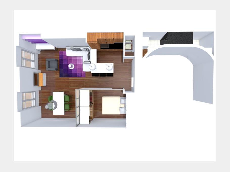 apr s le plan 3d une chambre au milieu du salon journal des femmes. Black Bedroom Furniture Sets. Home Design Ideas