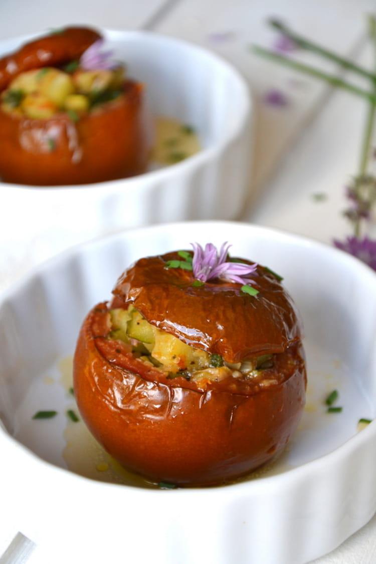 recette de tomates farcies v g tariennes aux saveurs proven ales la recette facile. Black Bedroom Furniture Sets. Home Design Ideas