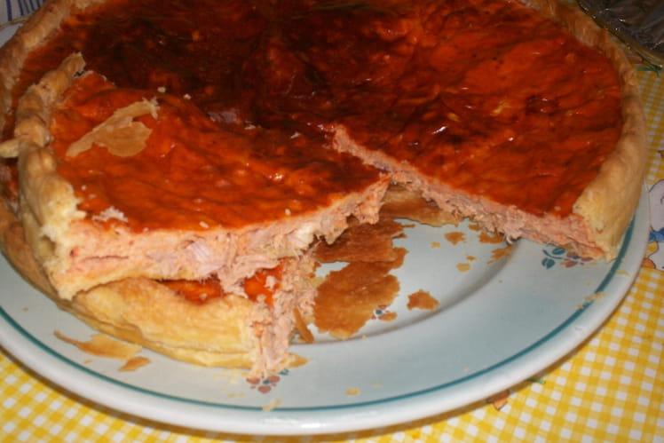 Tarte au thon et saumon au concentré de tomate