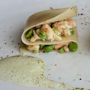 lasagnes aux crevettes et petits pois épicés