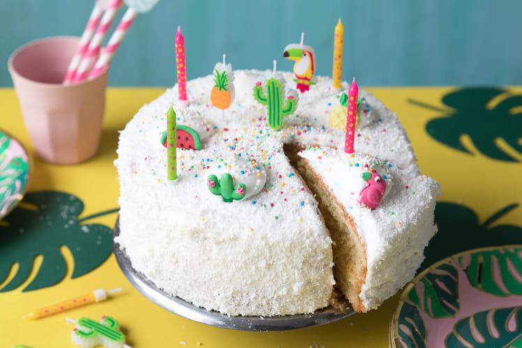 Gâteau d'anniversaire jungle mangue-coco
