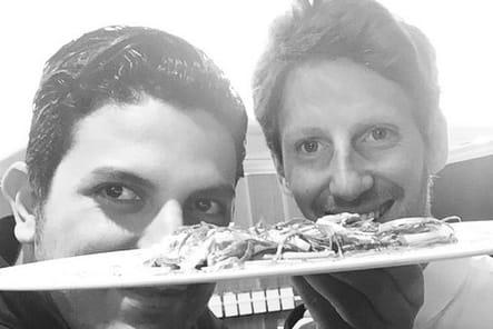 Akrame Benallal et Romain Grosjean, en cuisine