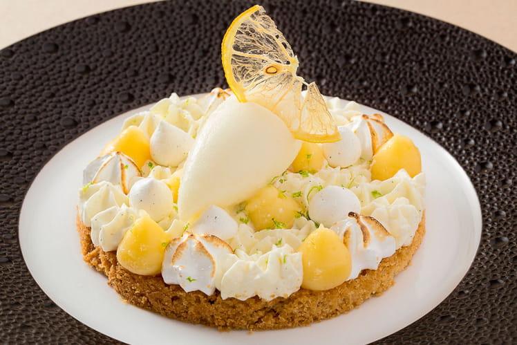 Sablé Breton, crème au citron meringuée, sorbet verveine et pastis Henri Bardouin