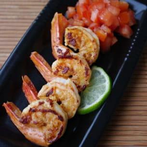 crevettes marinées au citron vert et gingembre