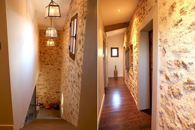 Escaliers aux murs de pierres