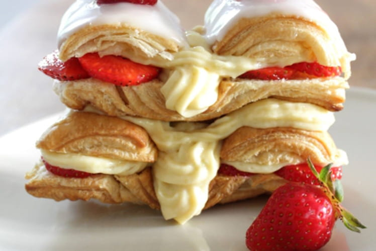 Millefeuille fraise / rhubarbe