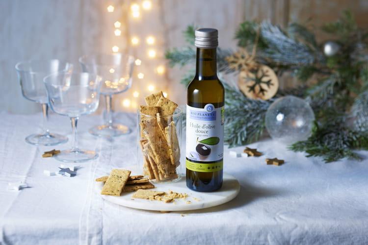 Crackers à l'huile d'olive, romarin et sel de Camargue par Bio Planète