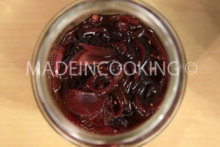 Compotée d'oignons rouge aux framboises