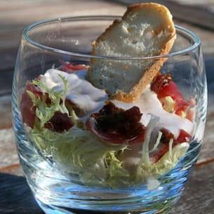 salade frisée saveurs italiennes, sauce roquefort