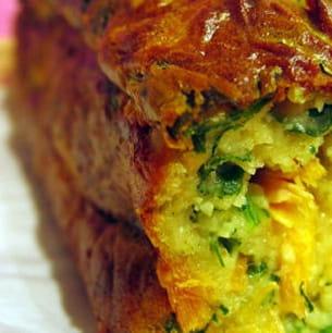 cake roquette-truite-wasabi