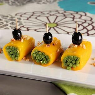 rouleaux de poivrons farcis aux haricots verts