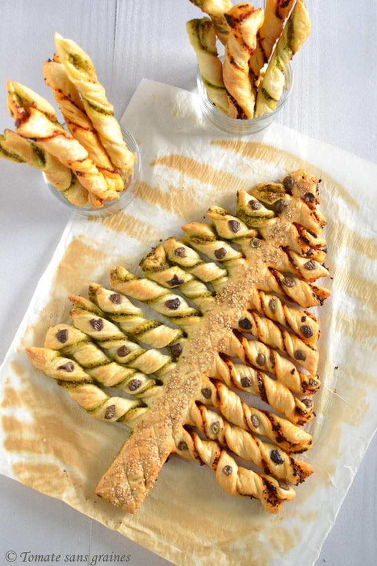 Recette de Sapin feuilleté olive et graines de sésame