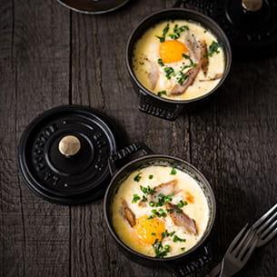 œuf cocotte au maroilles et maquereau fumé