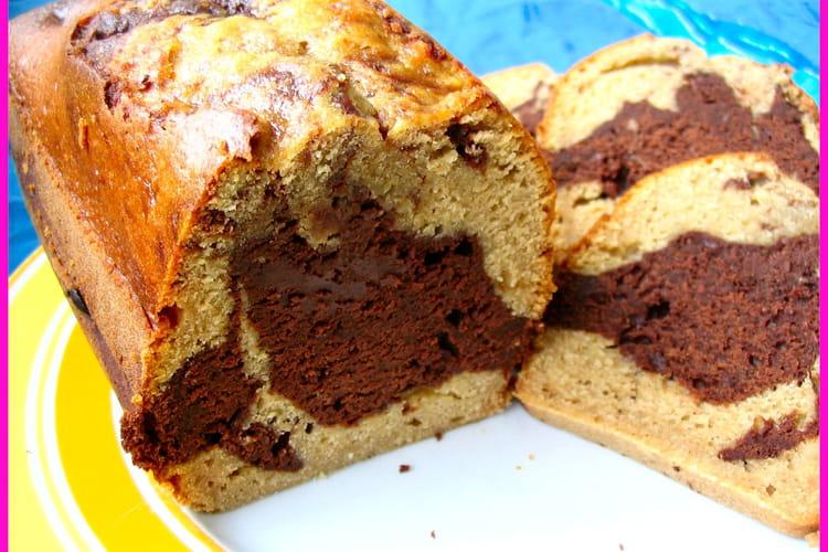 Cake marbré chocolat-caramel