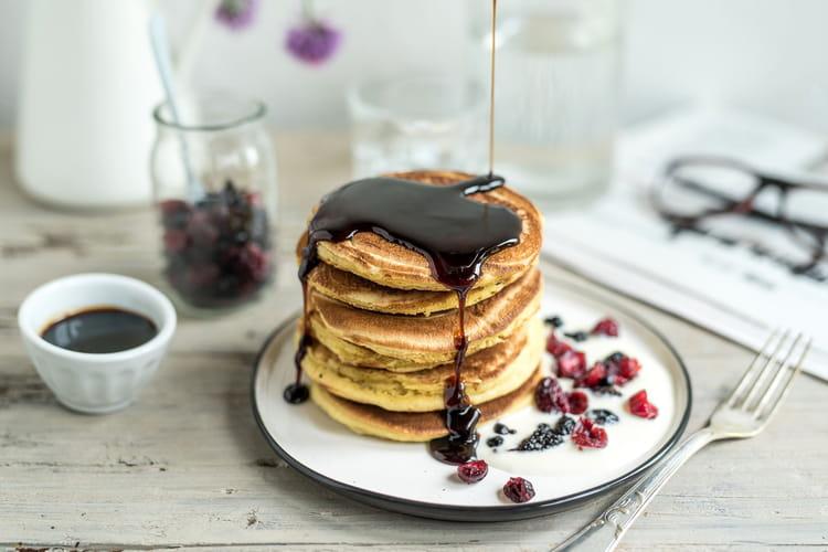 Pancake au parmesan vinaigre balsamique et fruits rouges