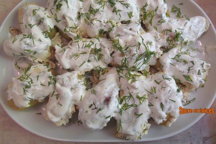 Pommes de terre au four, au fromage blanc et aneth