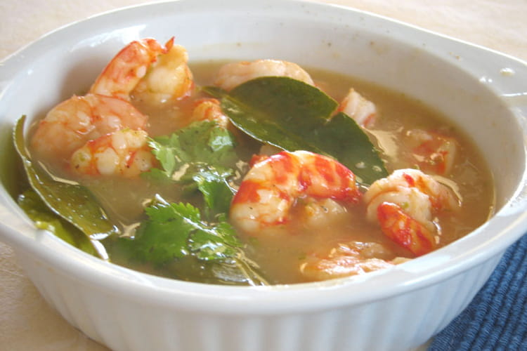 Crevettes sauce citron vert et citronnelle
