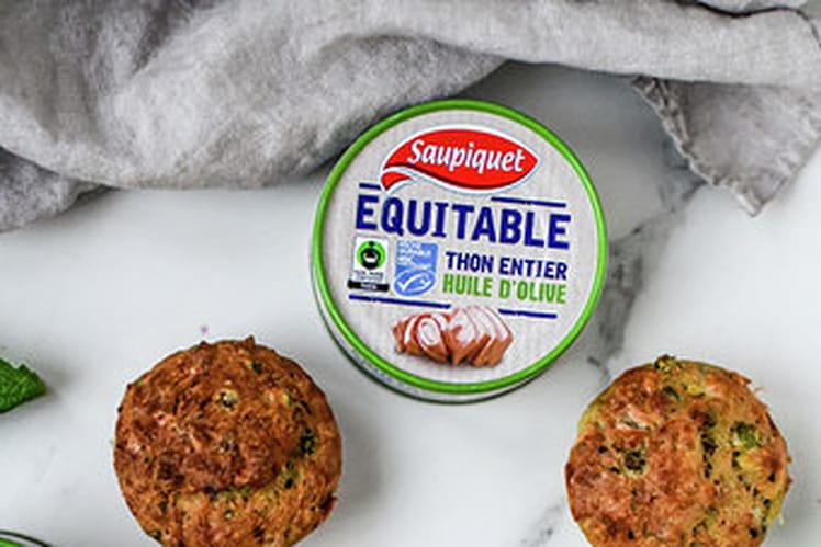 Muffin au thon, courgette, petits pois et feta