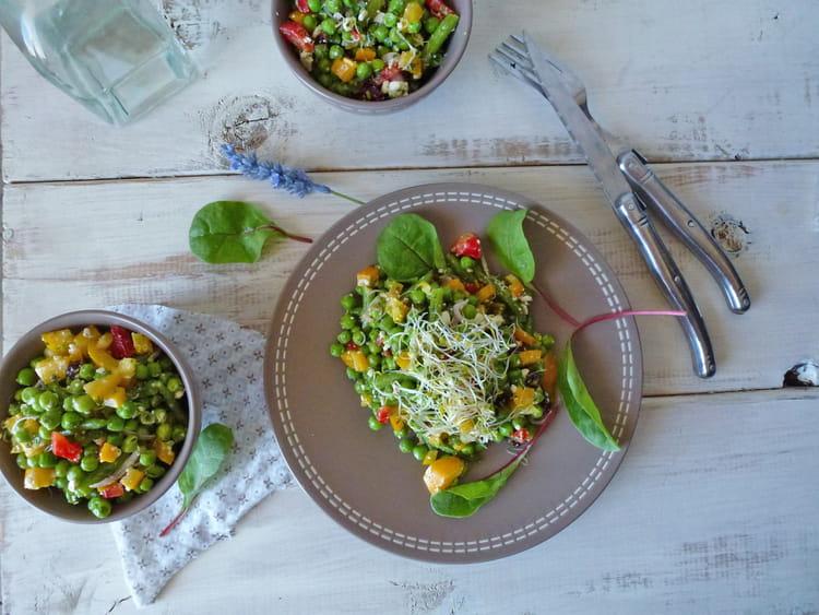 recette de salade de printemps aux petits pois et haricots verts la recette facile. Black Bedroom Furniture Sets. Home Design Ideas