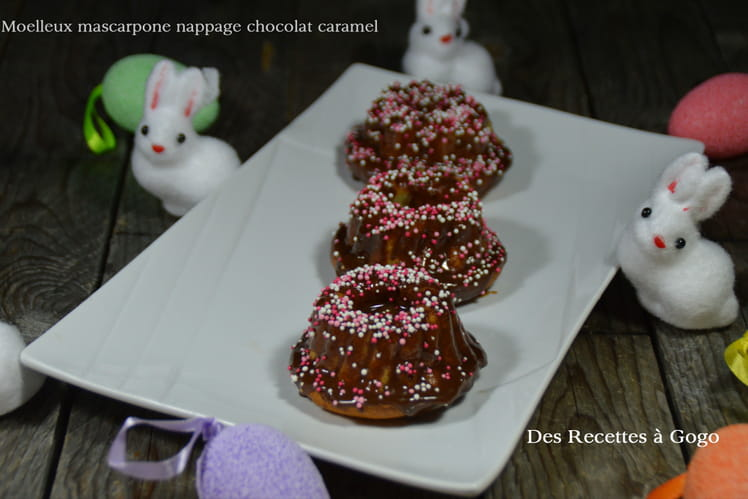 Moelleux mascarpone nappage chocolat caramel