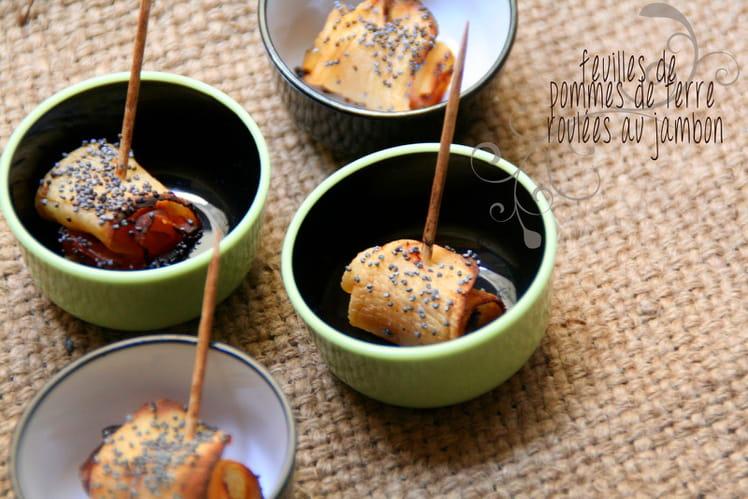 Feuilles de pommes de terre roulées au jambon