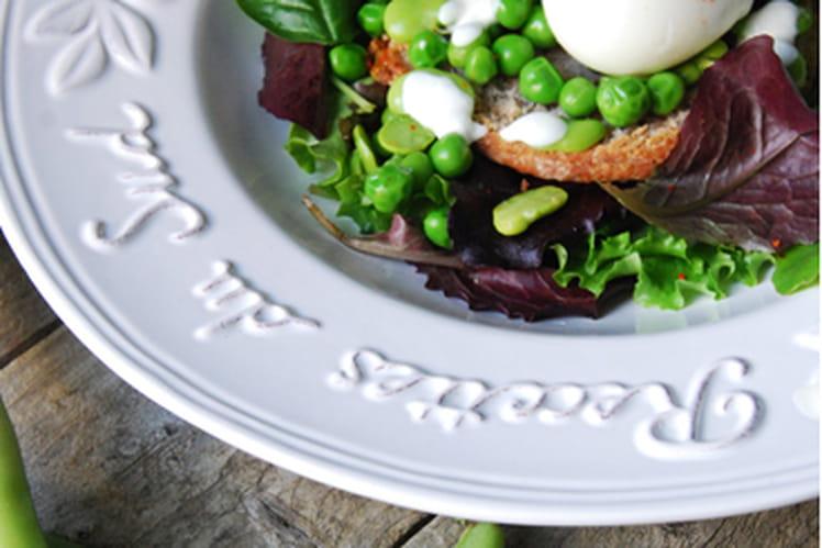 Scones au roquefort, oeuf mollet et légumes