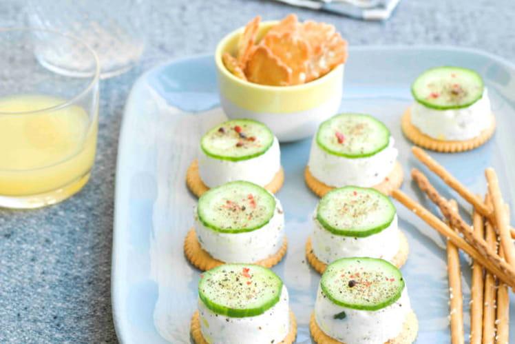 Crackers façon cheese-cake au concombre