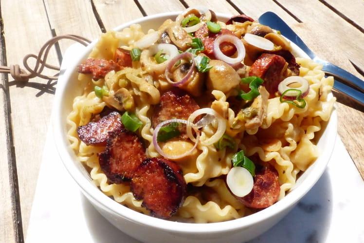 Pâtes Mafaldine au chorizo et aux champignons