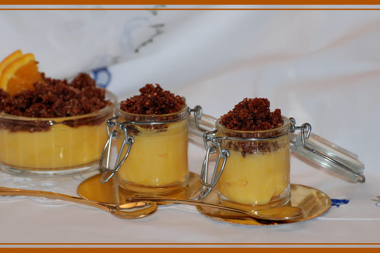Petite crème à l'orange et son crumble au chocolat