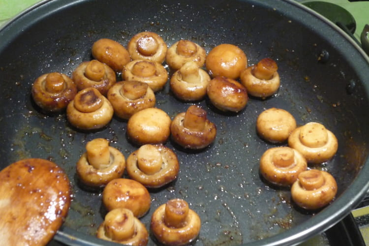 Champignons au balsamique et polenta grillée