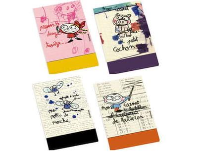 carnets allumettes 'pattes de mouche', 'ratures', 'preum's' et 'cochon'