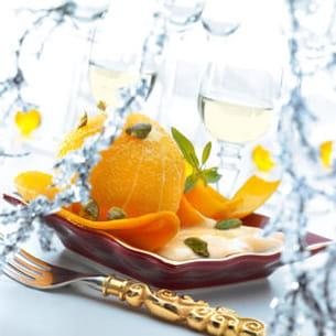 oranges pelées confites, crème de beaufort