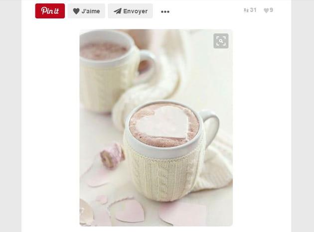Tasse chocolat chaud cœur