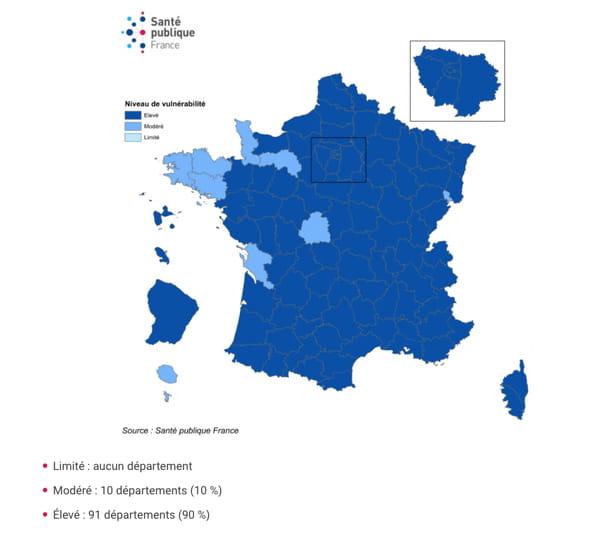 Niveau de vulnérabilité par département et évolution, France, au 8 octobre 2020