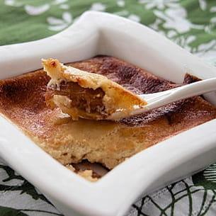 fondant de fromage blanc sur compote de mirabelles