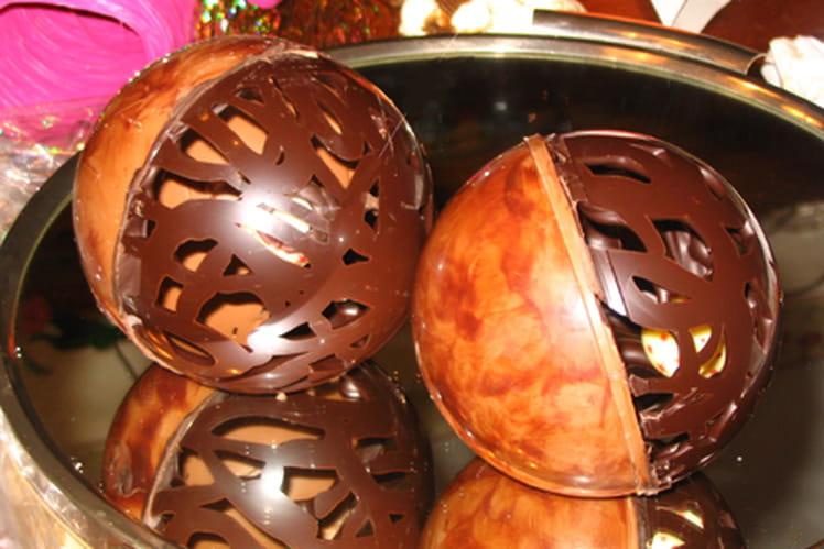 Boules de Noël en chocolat
