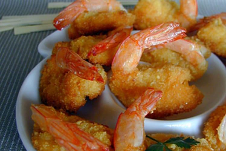 Crevettes croquantes, sauce à l'abricot