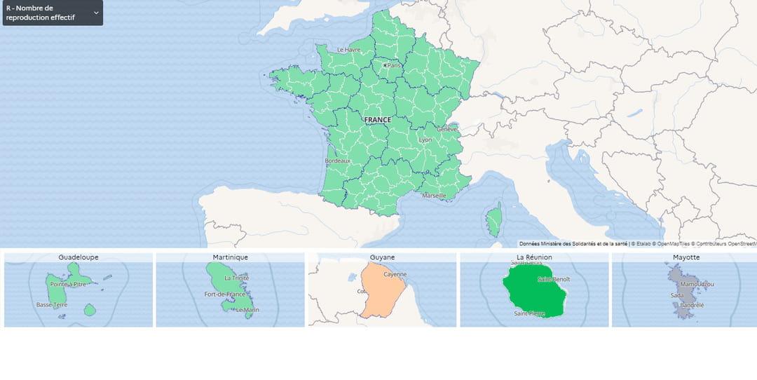 Taux de reproduction en France au 17 novembre