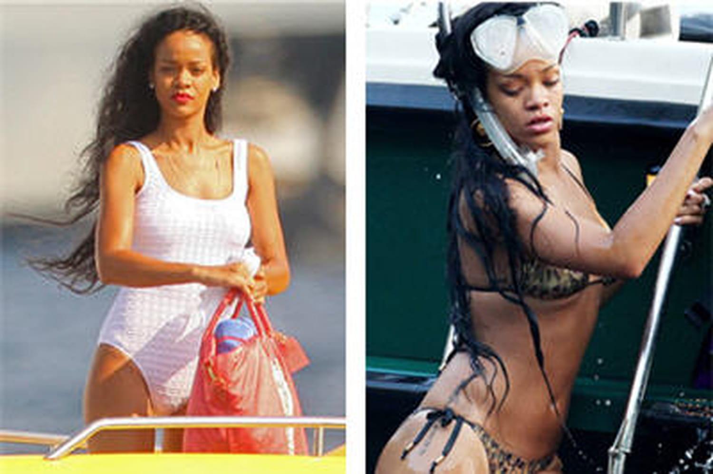 Les maillots de bain de Rihanna: bikini versus une pièce