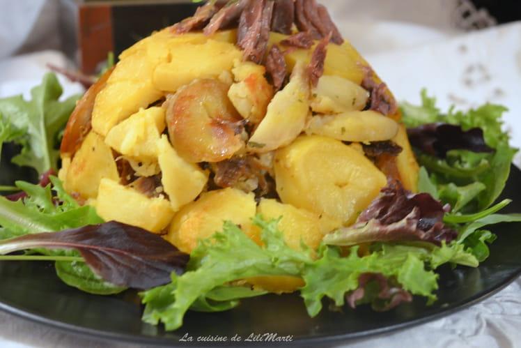 Gâteau de canard et pommes de terre sarladais